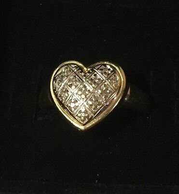 Solid 2.08g Yellow/White Gold Ladies Weave Heart Ring stamped 9ct - Size Q
