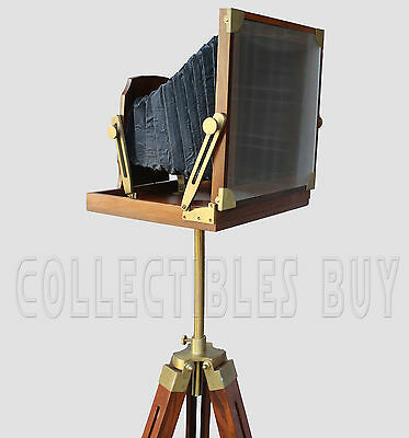 Antique Vintage Folding Camera Old Movie Wooden tripod Big Nautical Decorative
