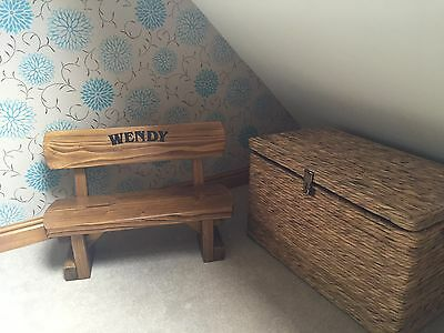 Personalised Childs Bench Solid Wood Gift Christening New Baby Birthday