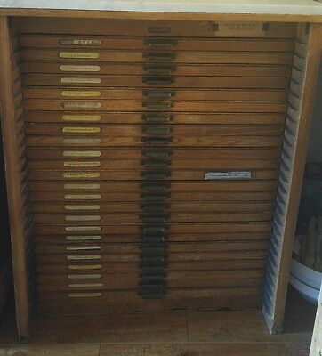 HAMILTON 24 Drawer Wood Type Printers Letterpress Cabinet with marble top