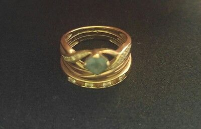 9ct Yellow Gold, 3 Ring Combination with Diamonds, Topaz & Citrine