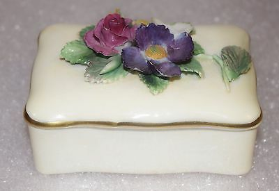 Vintage Crown Staffordshire Fine Bone China Trinket Box 3D Flowers England