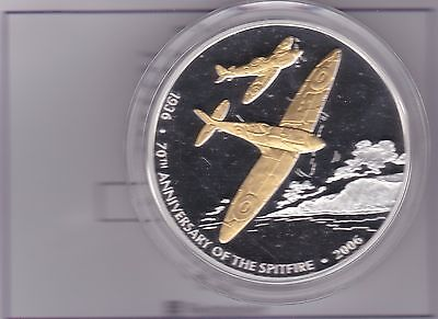 2006 Boxed 5 Ounce Silver Proof Medal With Gold Plated Spitfires And Certificate