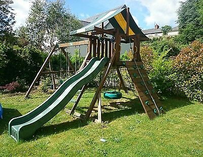 wooden climbing frame, play house with swing beam