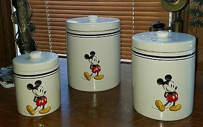 Set Of 3 Disney Mickey Mouse Canisters
