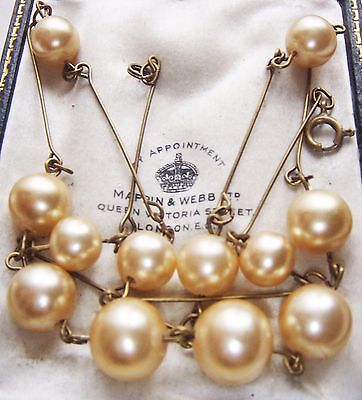 Gorgeous Vintage Costume Jewellery Art Deco Faux Pearl Glass Links  Necklace