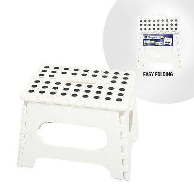 White Easy Folding Stool | Extra Strong Multi Purpose | Home Kitchen Bathroom