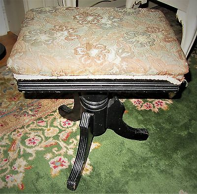 Antique Black Eastlake Victorian Wooden Organ Piano Stool Made In Usa