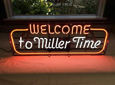 "Vintage RARE 1983 ""Welcome to Miller TIme"" Neon Beer Sign"