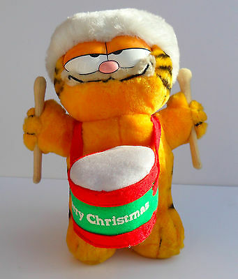 Vintage Garfield Plush in Xmas Hat and Drum Merry Xmas -New Old Stock with Tags!