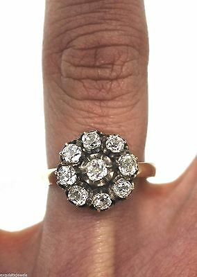 Antique Victorian 1.25ctw Rose Cut Diamond 14K Yellow Gold Flower Cocktail Ring