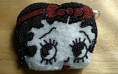 Vintage Betty Boop Beaded Coin Change Zippered Purse