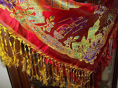 Vintage Taj Mahal Piano Scarf Shawl Table Cloth Fringe Red Yellow Purple Green