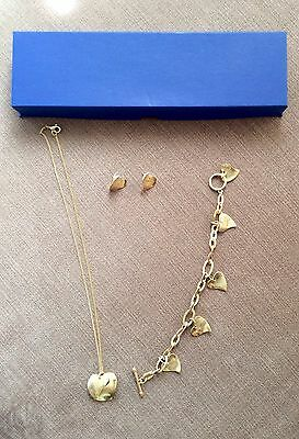 Womens Yellow Gold Overlay Heart Necklace & Bracelet & Earrings Good Condition