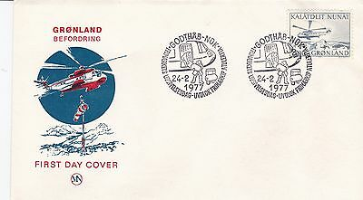 First day cover, Greenland, Scott #83, Helicopter, 1977