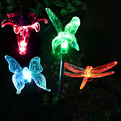 4Pk - Color Changing Butterfly, Flower, Hummingbird, Dragonfly Solar Stake Light