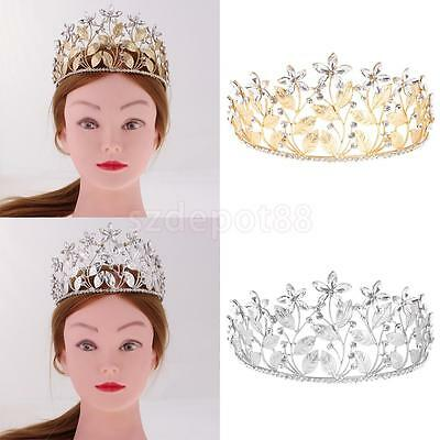 Luxury Woman Bridal Crystal Flower Leaf Hair Tiara Wedding Crown Veil Headband