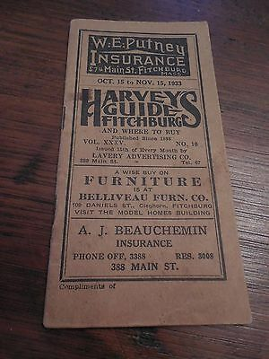 Fitchburg, Massachusetts 1933 Bus & Rail Road Schedule Booklet with Advertising