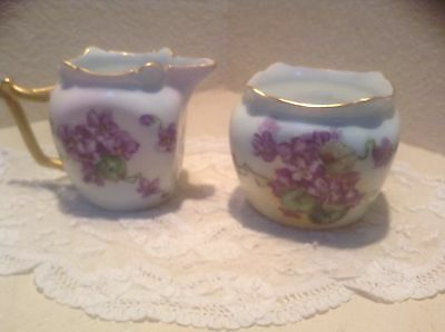 Favorite Bavaria Hand Painted Violets Creamer & Sugar Euc Signed
