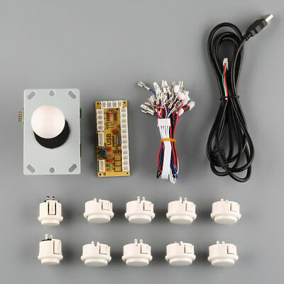 New Arcade DIY Kits Parts USB Encoder To PC China Sanwa Joystick + White Buttons