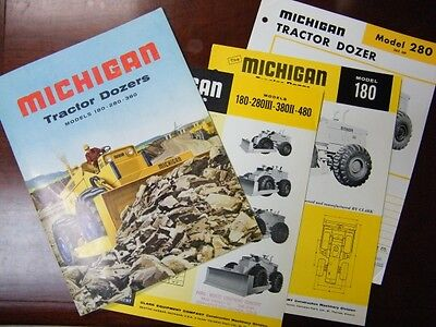 Vtg Early 1960s MICHIGAN TRACTOR DOZER 180 280 380 BROCHURE + SPEC SHEETS LOT VG