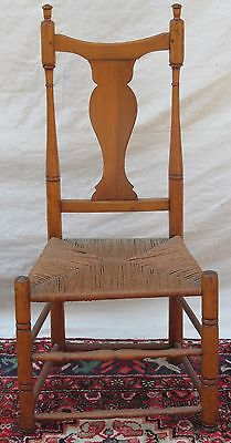New England Queen Anne Period Button Foot Side Chair With Applewood Splat