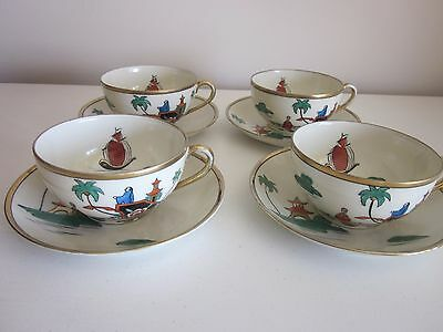 Nippon cups and Saucers Set of 4 Multi color hand painted