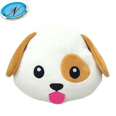 Cuscino Morbido Peluche Emoji Emoticon Cucciolo Cane Whatsapp Smiley Instagram
