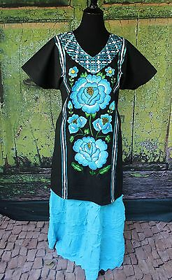 Black & Blue Floral Hand Embroidered Cotton Huipil Tehuana Mexico Hippie Frida