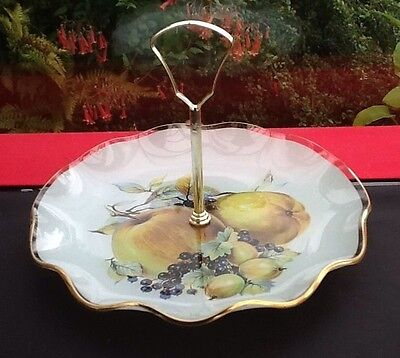 """CHANCE GLASS VINTAGE Cake PLATTER/DISH/PLATE 8"""" Wide With Handle Original Box"""