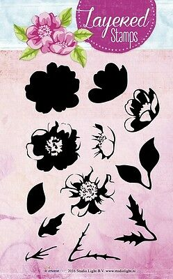 Studio Light Layered Clear Stamps - Dog Rose & Leaves - 04 - Set of 12 - NEW