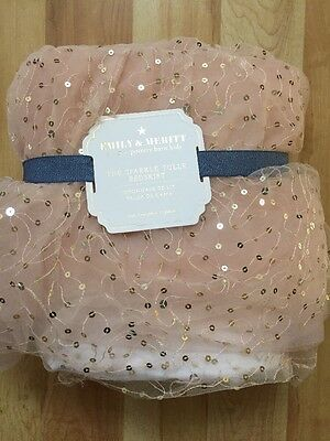 NEW POTTERY BARN KIDS Emily & Merit Sparkle Tulle Pink Twin Bed skirt