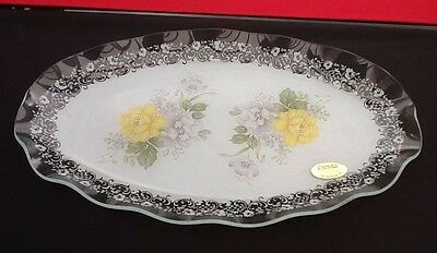 """CHANCE GLASS YELLOW ROSE VINTAGE Cake PLATTER/DISH/PLATE Oval14"""" Long"""
