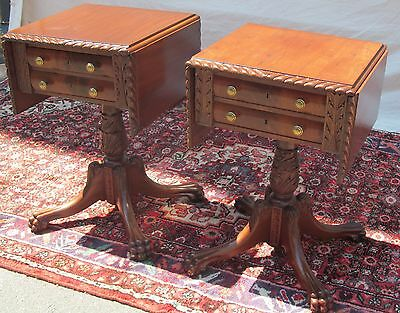 Pair Of Duncan Phyfe Classical Period Mahogany Carved End Tables - Nightstands