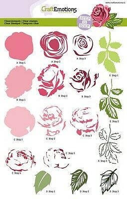 Craft Emotions A5 Layering Clear Stamp Set - Rose - 2003 - Flowers -NEW