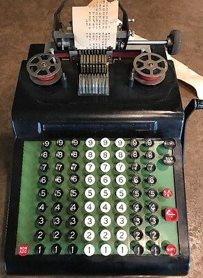 Antique R.C. Allen 805 Business Machines Adding Machine, Cover, Extra Ribbons