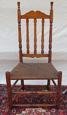 William & Mary Period New England Bannister Back Chair In Curly Maple
