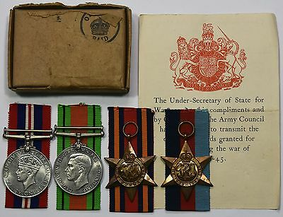 WW2 Medal Group Of 4 1939-45 Star, Burma Star, Defence Medal and War Medal