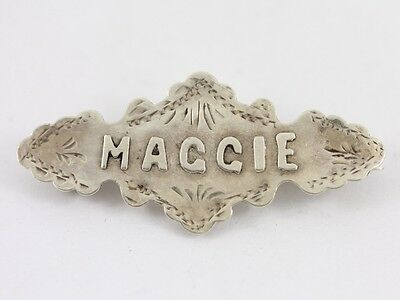 Sweetheart Brooch Maggie Name Sterling Silver Pin Badge Mizpah 925 2g AR11