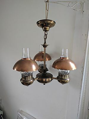 Antique brass ceiling 3 light fixture chandelier with glass shades and copper