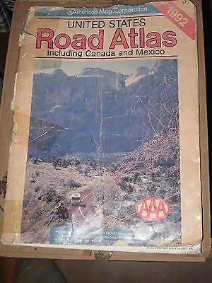 "American Map. Vintage 1992 Road Atlas Map  United States Mexico Canada 15""x 11""!"