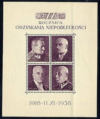 POLAND  1938 Independence Anniversary block MNH / **.  Michel Block 7