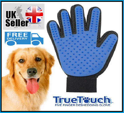 True Touch Deshedding Grooming Glove for Gentle Efficient Pet Cat Dog Shower New