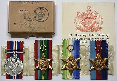 WW2 Medal Group Of 4 1939-45 Star, Pacific Star, Atlantic Star & War Medal