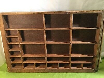 Vintage Wood Printers Tray Letterpress Type Case Drawer 24 Compartments 11 X 17