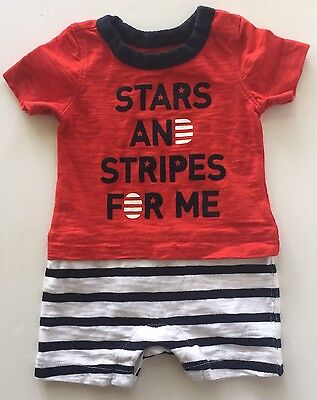 Baby Gap Boy 4th of July Red White Blue Short Sleeve Romper Cotton 0-3 Months