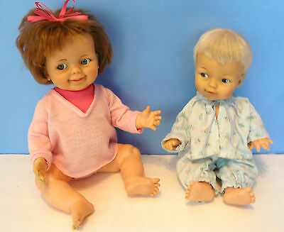 """Vtg. 14"""" Little BABY LUCY Doll & 16"""" GIGGLES (1967/1968) IDEAL -Original Outfits"""