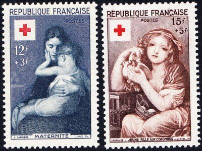France 1954 Red Cross Fund - 2 mint hinged values - Cat £36 - (102)