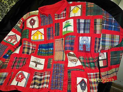Handmade Jacket, English Paper Pieced & Plaid Squares w/Red Sashing, size Large