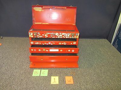 Stack-On Tool Box Red Kit Drawer Artillery Military Chest Metal Tray Lock Used